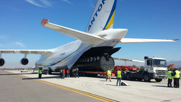 Seen here is one of the piping filtration units pulled into the Antonov freighter at Santiago Airport