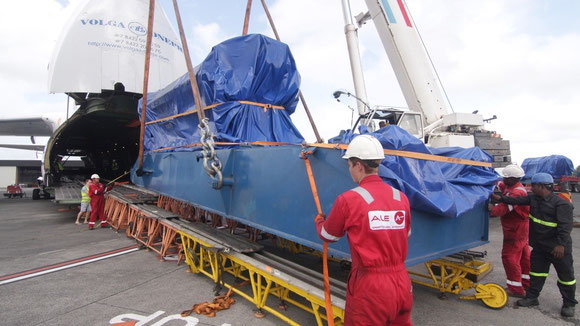 Pictured is one of the generators flown from Mauritius to Madagascar  -  courtesy: V-D