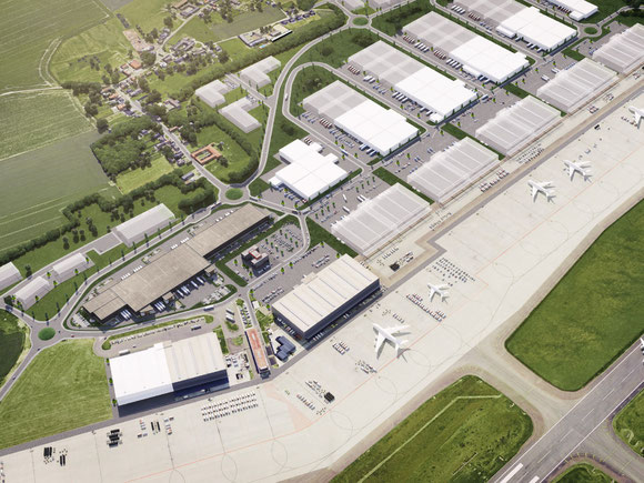 Artist impression aerial view of the Flexport development  -  courtesy Montea