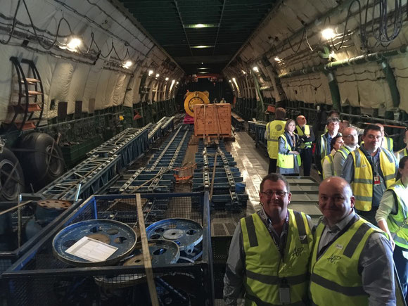 "ACP Worldwide managers Ken Lyons (left) with Ross Di Lizio (right) on a familiarization tour on board the AN-225 ""Mriya"" in Perth, Australia"
