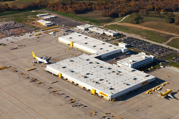 Amazon-utilized facility of DHL Express in Cincinnati, Ohio