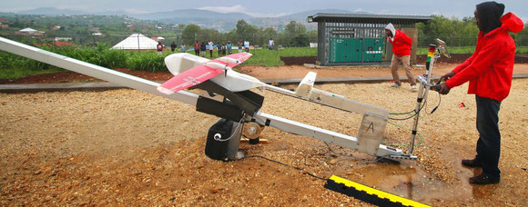 Zipline's drones are catapulted from a steel launcher into the air…  -  photos: Zipline