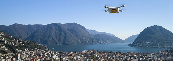 From 2018 on, delivery drones will fly laboratory samples between two Swiss hospitals, replacing road transports - courtesy Swiss Post