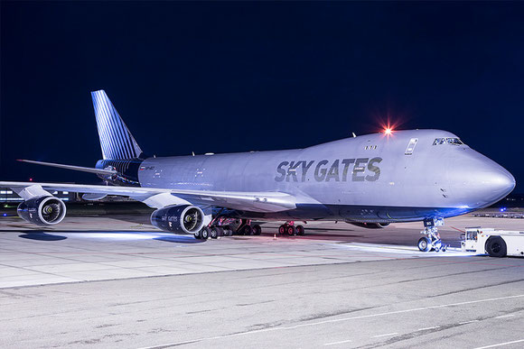 SkyGate Boeing 747-400 freighter at MST Airport  -  courtesy GAS
