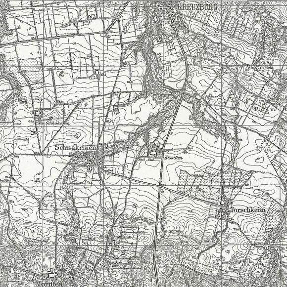 Topographische Karte mit Schnakeinen und seinen Abbauten Neu- und Hochschnakeinen