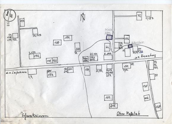 Dorfplan 2: Die Nummerierungen beziehen sich auf die Einwohnerliste von Schnakeinen 1939. Sie folgt weiter unten auf diesen Seiten.