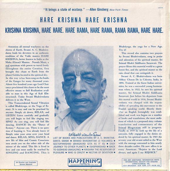 "Srila Prabhupada's "" Happening ""album George and John used to listen"