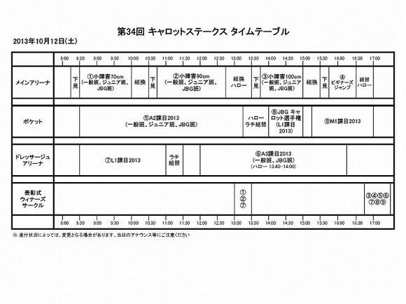 馬術競技会タイムテーブル土曜日