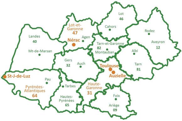 Toulouse et Auzielle (31 Haute-Garonne), Nérac (47 Lot-et-Garonne), Saint-Jean-de-Luz (64 Pyrénées-Atlantiques)