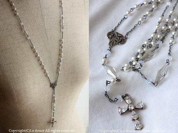 ヴィンテージパールと十字架のロザリオY字ロザリオネックレス