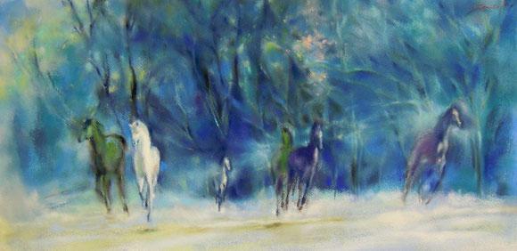 パステル画教室 馬 馬の絵 馬絵画  パステル画
