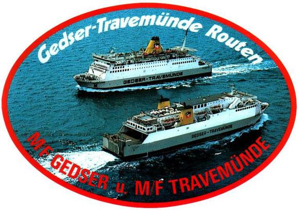 Gedser (123m x 20m) en bas et le Travemünde (137m x 22m) en haut.