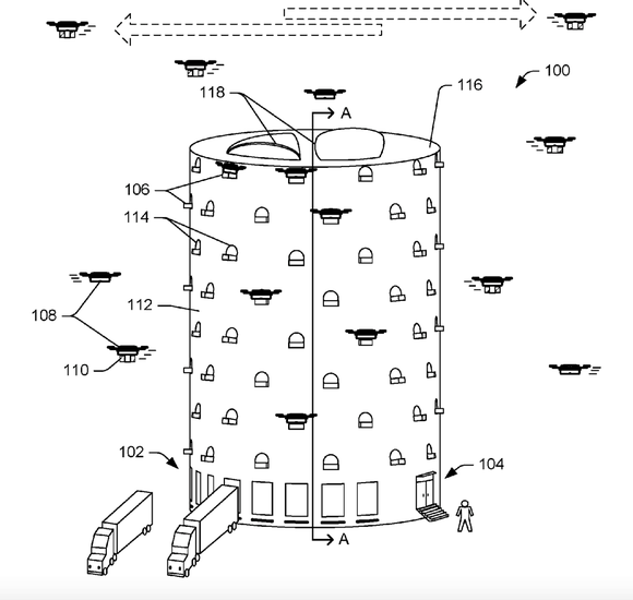 Amazon's design for drone fulfillment centre  -  company courtesy.