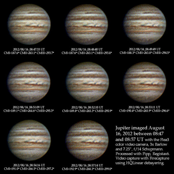 Jupiter images obtained on August 16, 2012