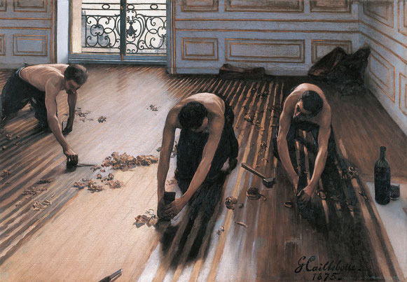ギュスターブ・カイユボット《床削りの人々》1875年