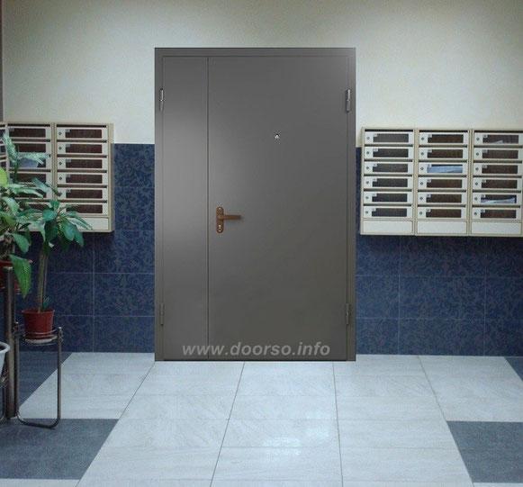 металлические двери с двумя створками
