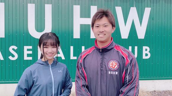 〈写真〉3月取材時の桐敷拓馬投手とNGT48真下華穂ちゃん