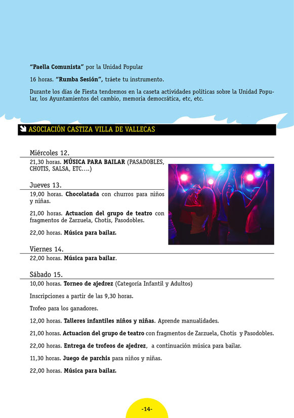 Fiestas de Villa de Vallecas Programa
