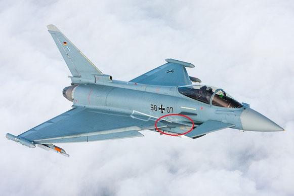 Il velivolo IPA7 Usato per le prove, si notano le estensioni sul raccordo ala e fusoliera (LERX) / © Airbus