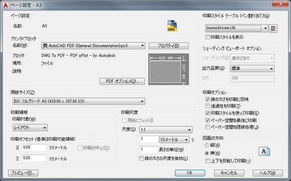 AutoCADの印刷ページ設定ウインドウ