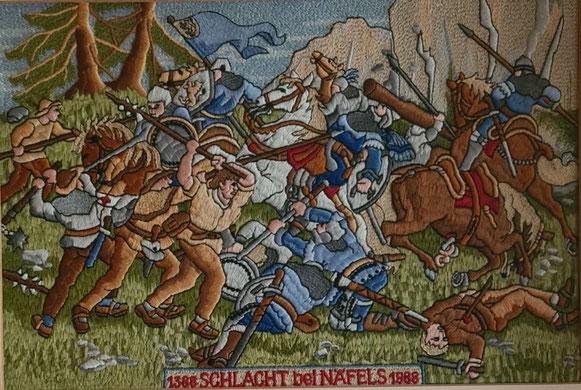 """Stickereistich """"Schlacht bei Näfels"""" - eine Exklusivität (Foto: Oskar Hürlimann)"""