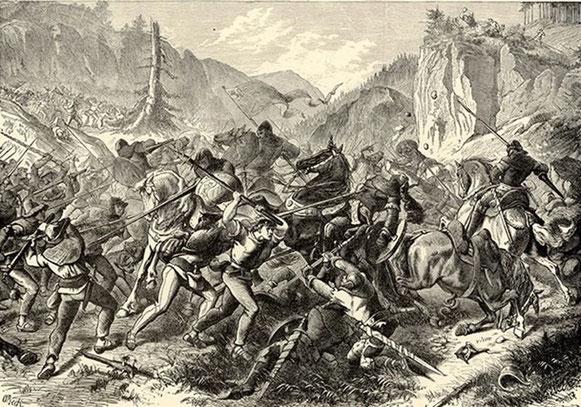 """August Beck """"Schlacht bei Näfels"""" - die Originalvorlage für das Stickerei-Bild. (Quelle: www.glarusfamilytree.ch/kopie-von-oberurnen?lightbox=dataItem-jv5caqd11 )"""