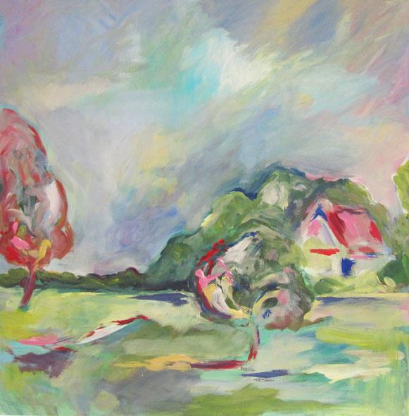Landschaft mit Haus – Acryl auf Leinwand – 80x80 cm – 2013