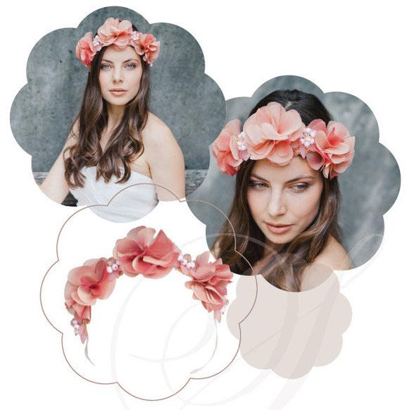 Haarkranz edel in apricot für Hochzeiten, zu Tracht oder Sommer Outfits