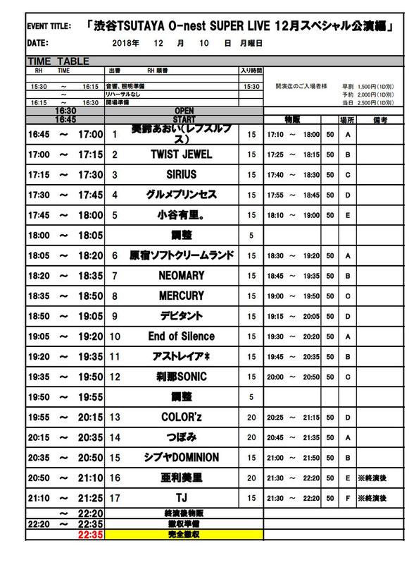 2018年12月10日(月)渋谷O-nest
