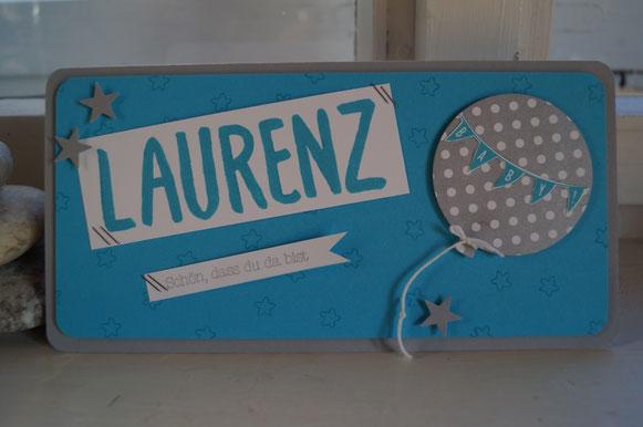 Babykarte zur Geburt von Laurenz - Patricia Stich 2015