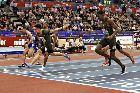 Su Bingtian gana los 60 m en la reunión de la IAAF World Indoor Tour en Birmingham (Mark Shearman) © Copyright