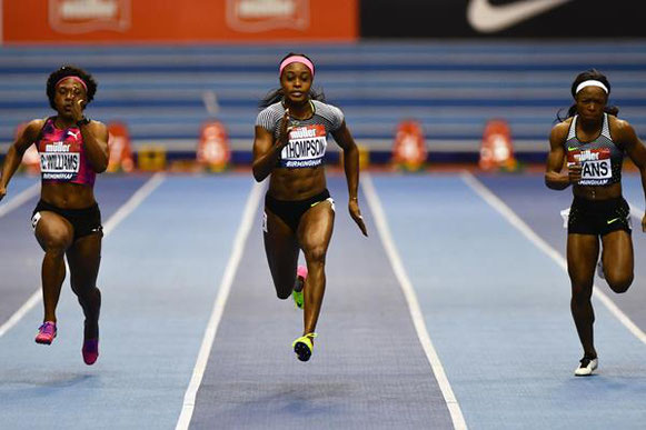 81/5000 Elaine Thompson en camino a su victoria de 6.98 en Birmingham (Getty Images) © Copyright