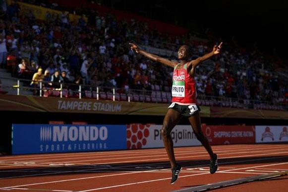 Rhonex Kipruto gana los 10.000 m en los Campeonatos del Mundo Sub-20 de la IAAF, Tampere 2018 (Getty Images) © Copyright