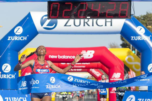 Guteni Shone rompe el récord de la carrera en la Maratón de Sevilla (Organizadores) © Copyright