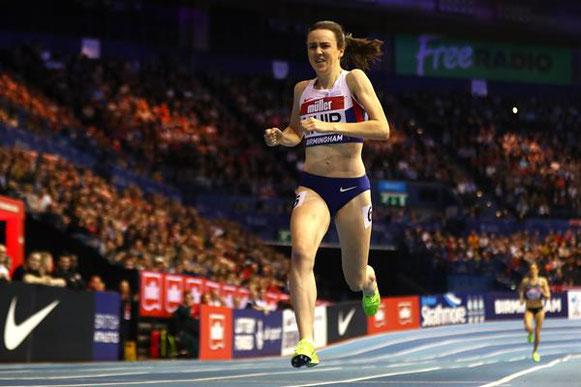 Laura Muir ganando los 1000m en el Gran Premio Indoor de Muller en Birmingham (Getty Images) © Copyright