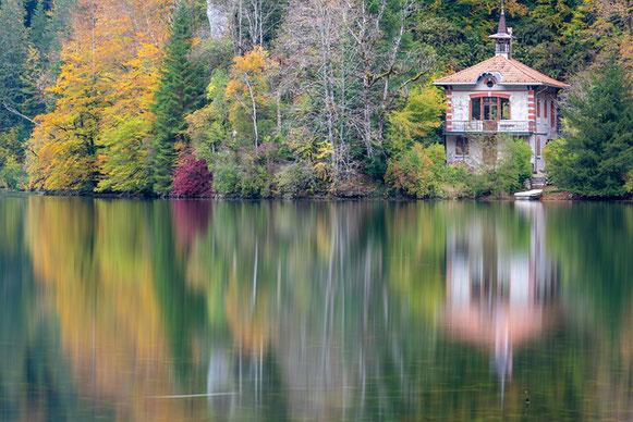 un lac fait miroir flou des arbres sur la berge