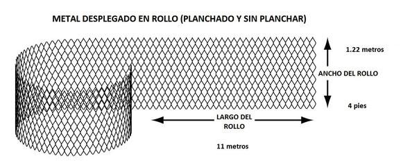 METAL DESPLEGADO EN ROLLO SIN PLANCHAR 1.22 x 11 m MEDIDAS