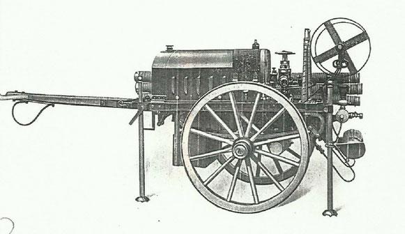 Zeichnung der Motorspritze der Firma E.C. Flader aus Jöhstadt