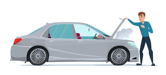 Mann steht vor einen defekten Auto