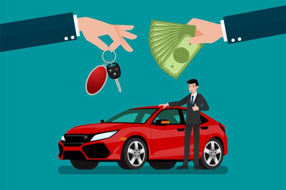 Rotes Auto mit zwei Händen die Geld gegen Autoschlüsel austauschen