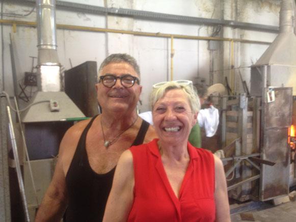 Mieke Drossaert en Silvano Signoretto in de Berengo Studio's