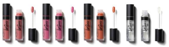 lipgloss e liptint di purobio cosmetics, rossetti liquidi e gloss naturali