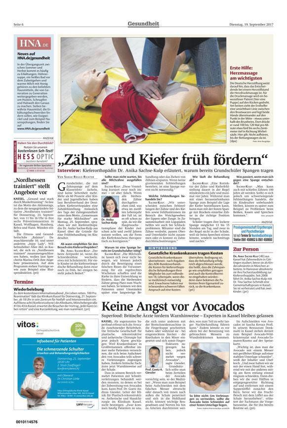 "HNA-Interview, 19. September, Dr. Anika Sachse-Kulp, ""Zähne und Kiefer früh fördern"", S. Rogge-Richter"