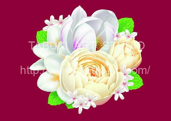 バラとハクモクレンの花のブーケ ジャスミン イラスト