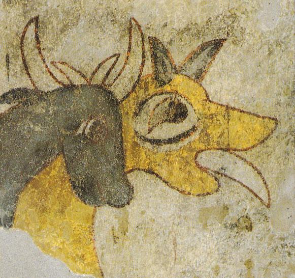 Er bewacht die Herde mit heraushängender Zunge: der Hirtenhund. Frühmittelalterliches Fresko St. Prokulus Naturns