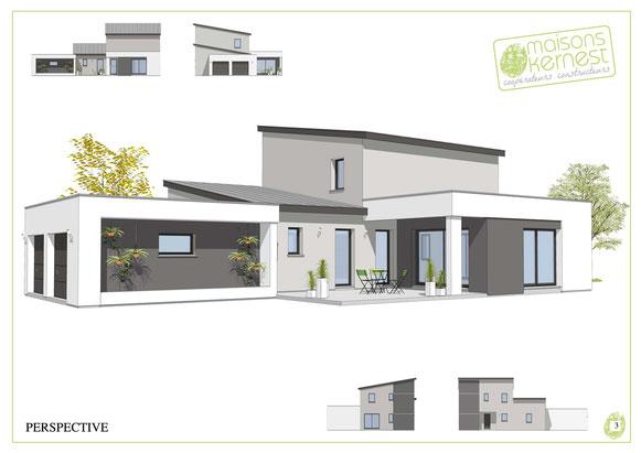 maison moderne à étage avec double garage toit monopente et enduit bicolore gris et blanc