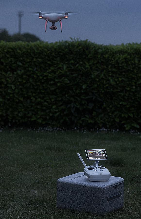 Heimkehr einer DJI Phantom 4 Pro Plus vom Nachtflug, Foto: bonnescape