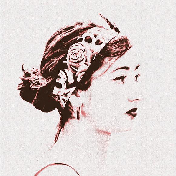 Die Rosenfrau, Canvas 60 x 60 cm
