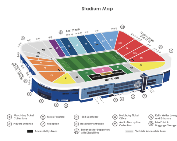 Stadionplan Leicester City King Power Stadium, Quelle: www.lcfc.com
