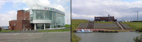 千歳川と石狩川の合流点に建設された江別河川防災ステーション(江別市大川通6)